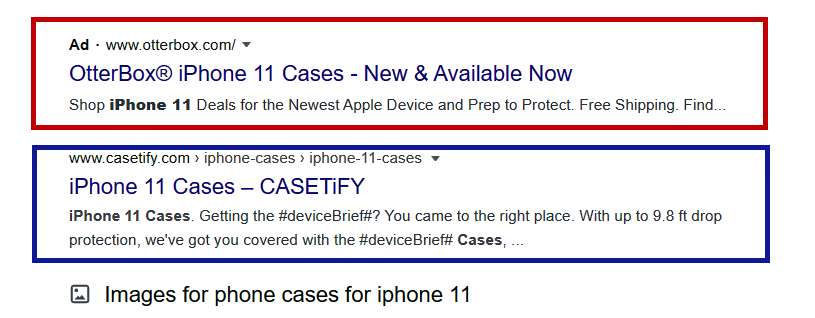 Google PPC Ad for iphone 11 cases