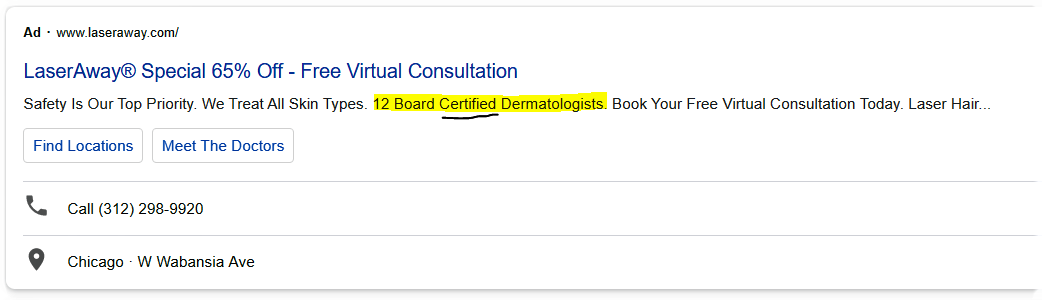 using authority in the search ads