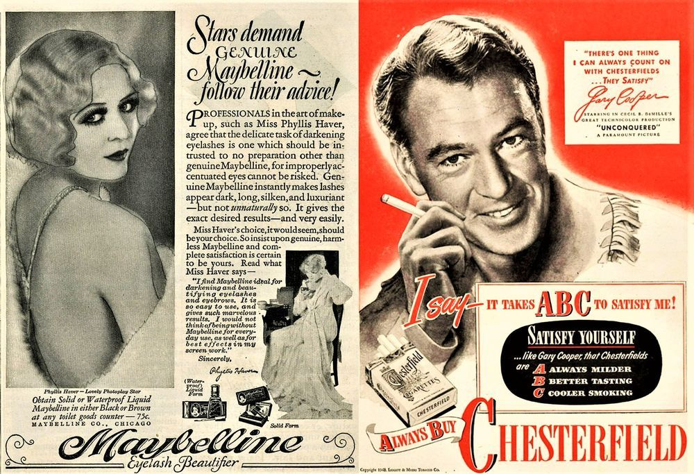 print ad example in the 1920s and 1940s