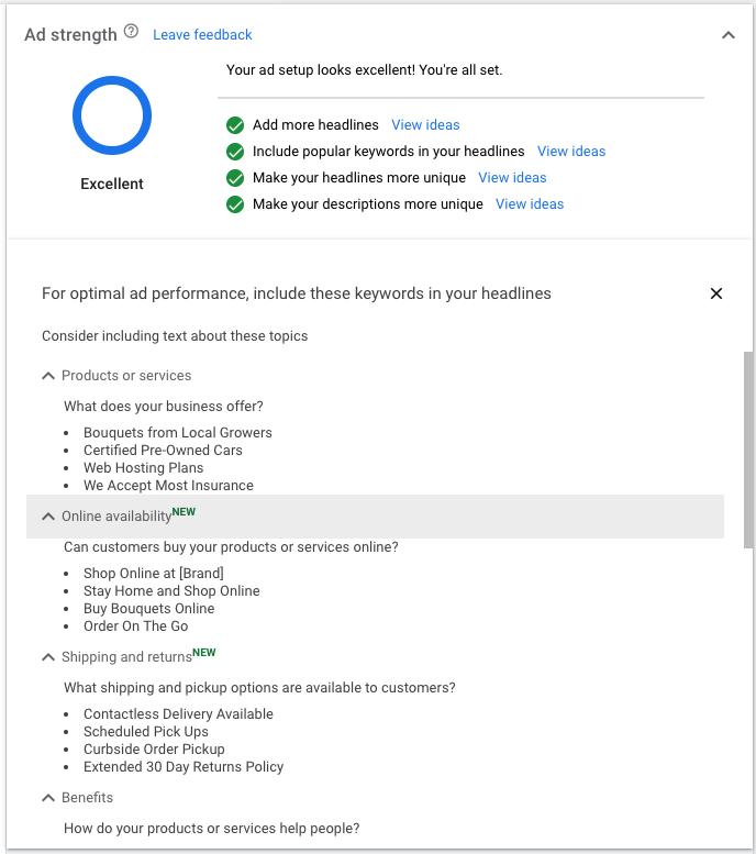 Google Ad Copy Suggestions